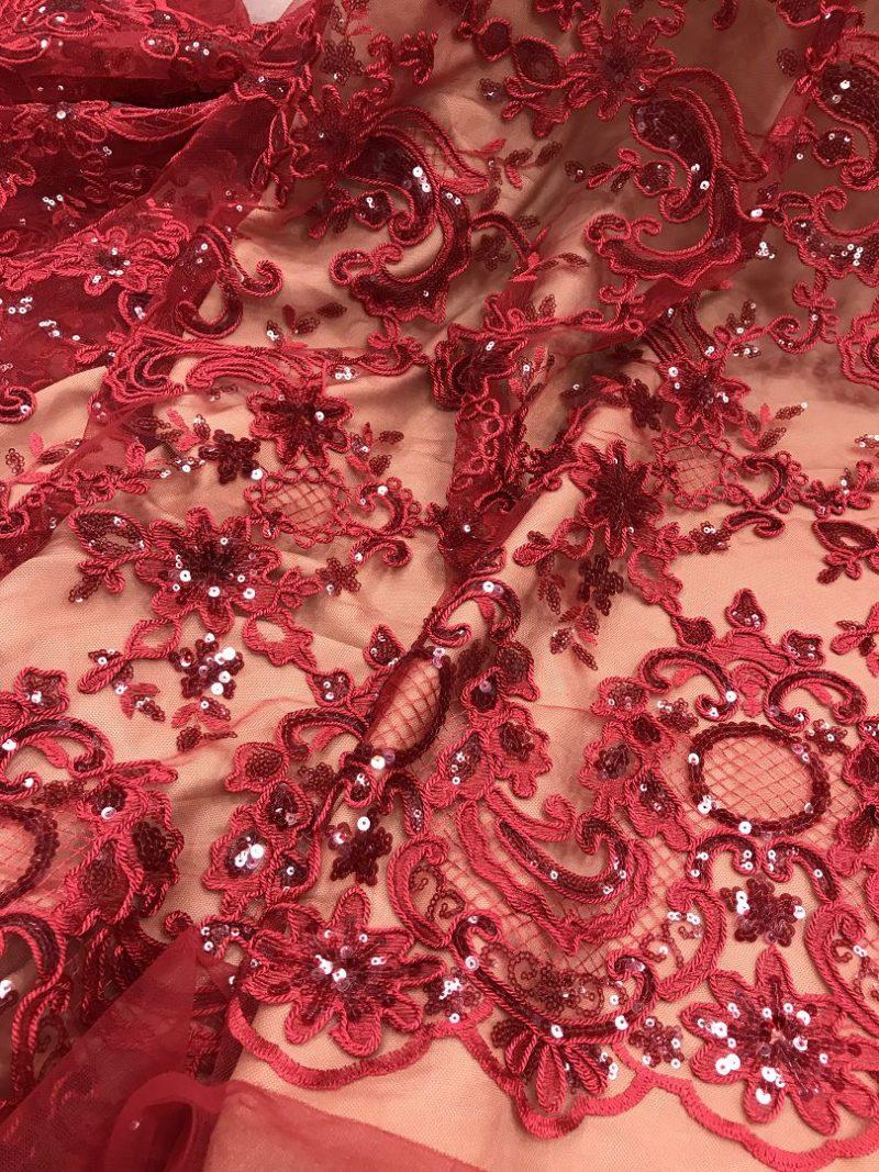 telas de encaje de lentejuelas