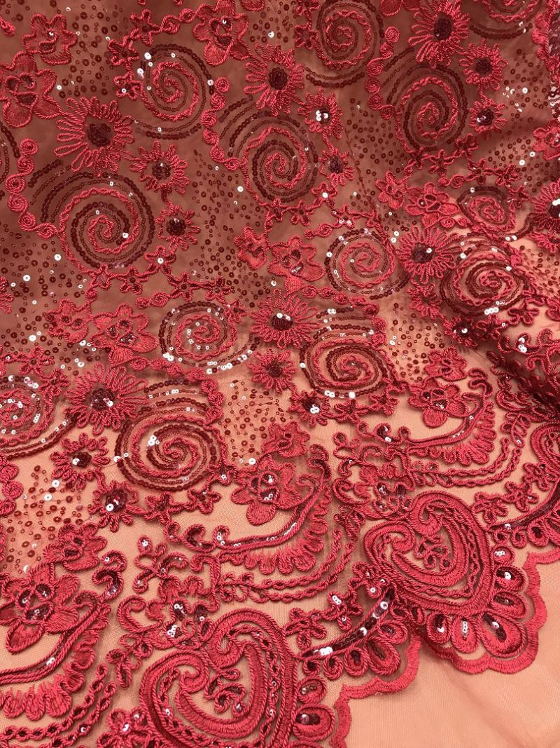 sequins embroidered lace fabrics