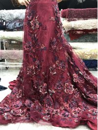wine red 3d floral beaded lace fabric