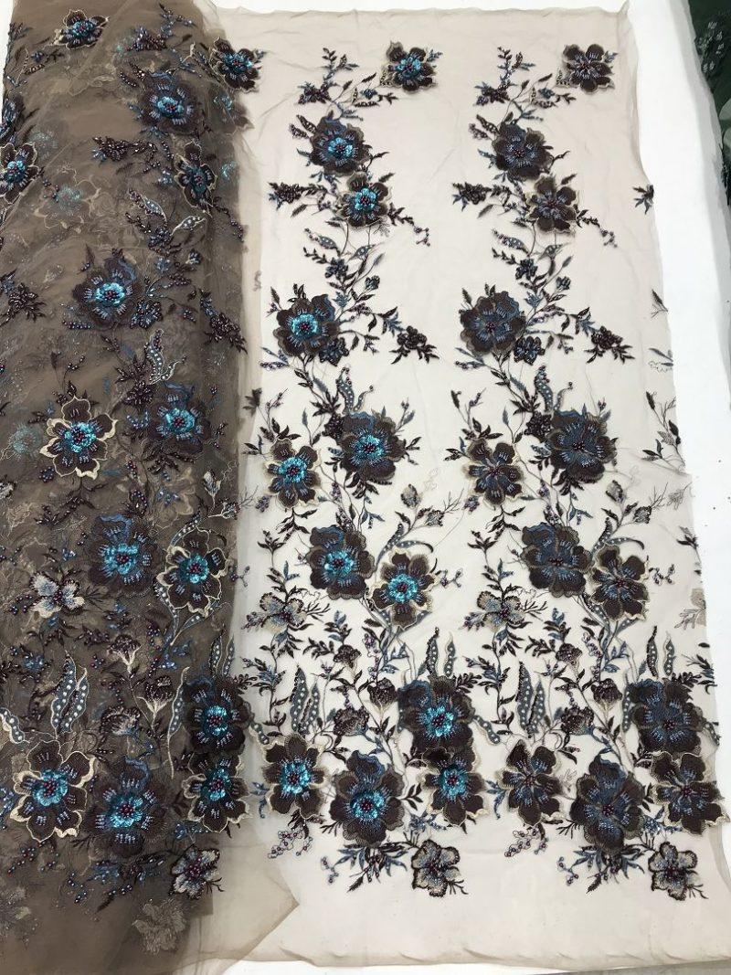 3d цветочная вышитая бисером кружевная ткань