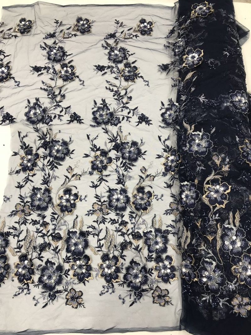 темно-синий 3d цветок кружевной ткани