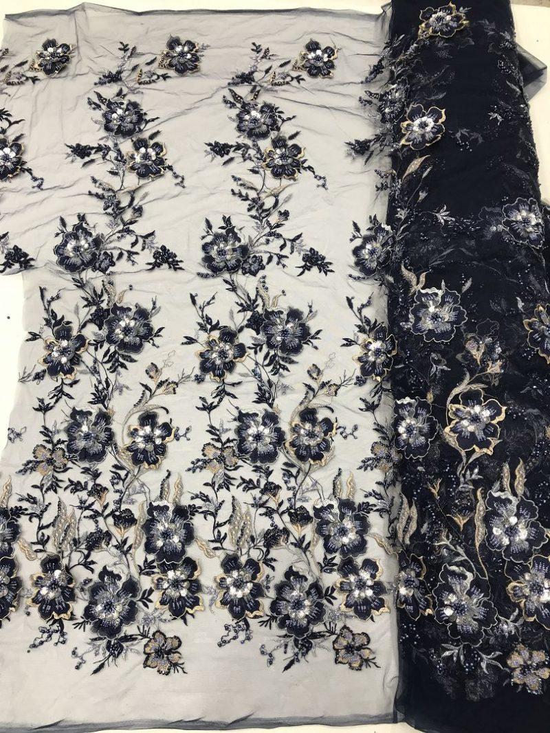 navy blue 3d flower lace fabric