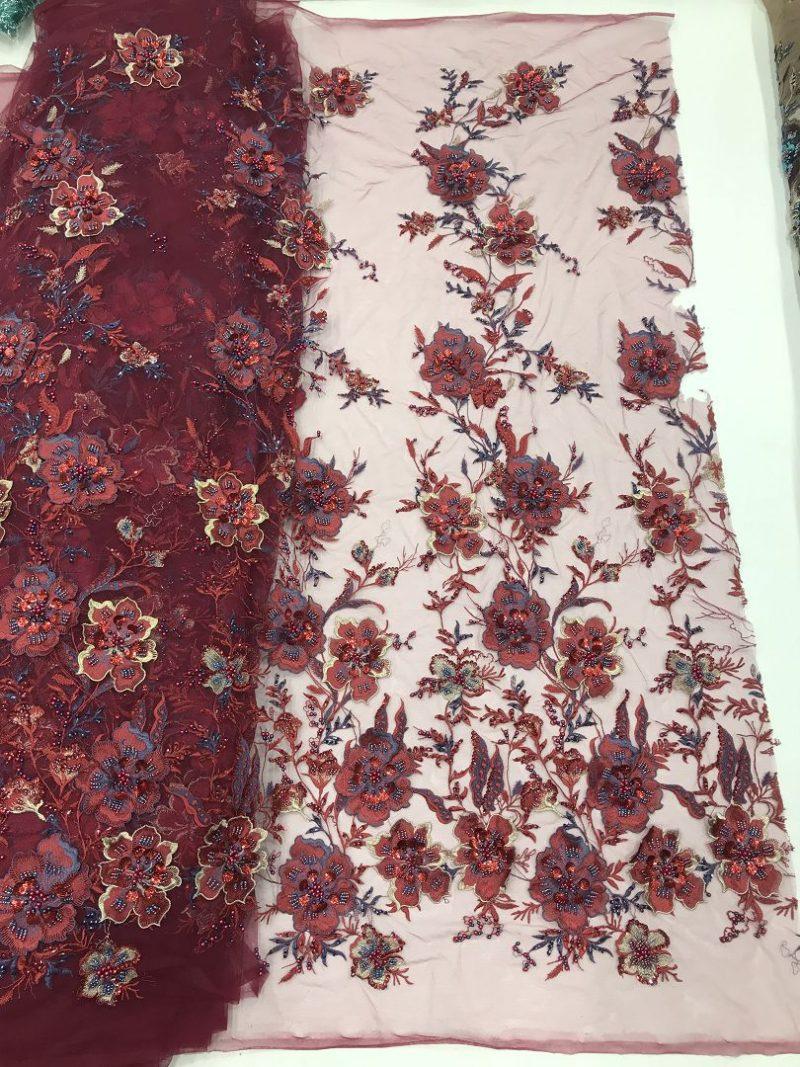винно-красная цветочная кружевная ткань