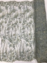 зеленая свадебная вышитая бисером кружевная ткань