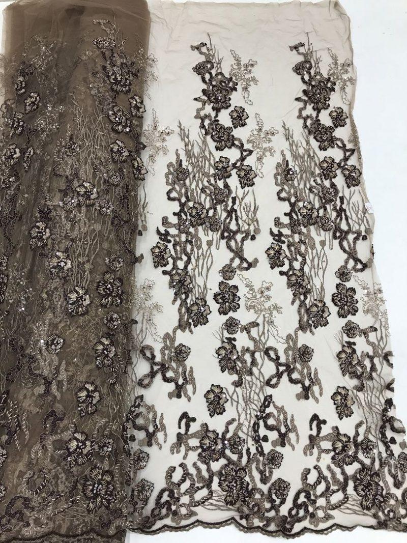 кофе из бисера кружевная ткань 3d цветок платье ткань