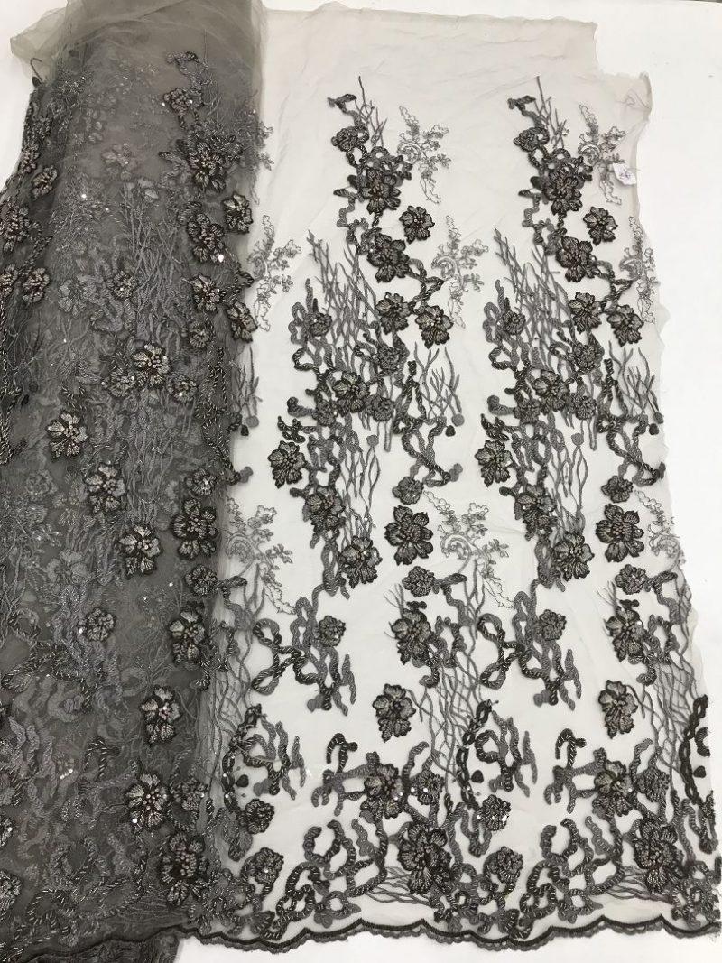 кружево из бисера 3d цветочная кружевная ткань пепельно-серое кружево
