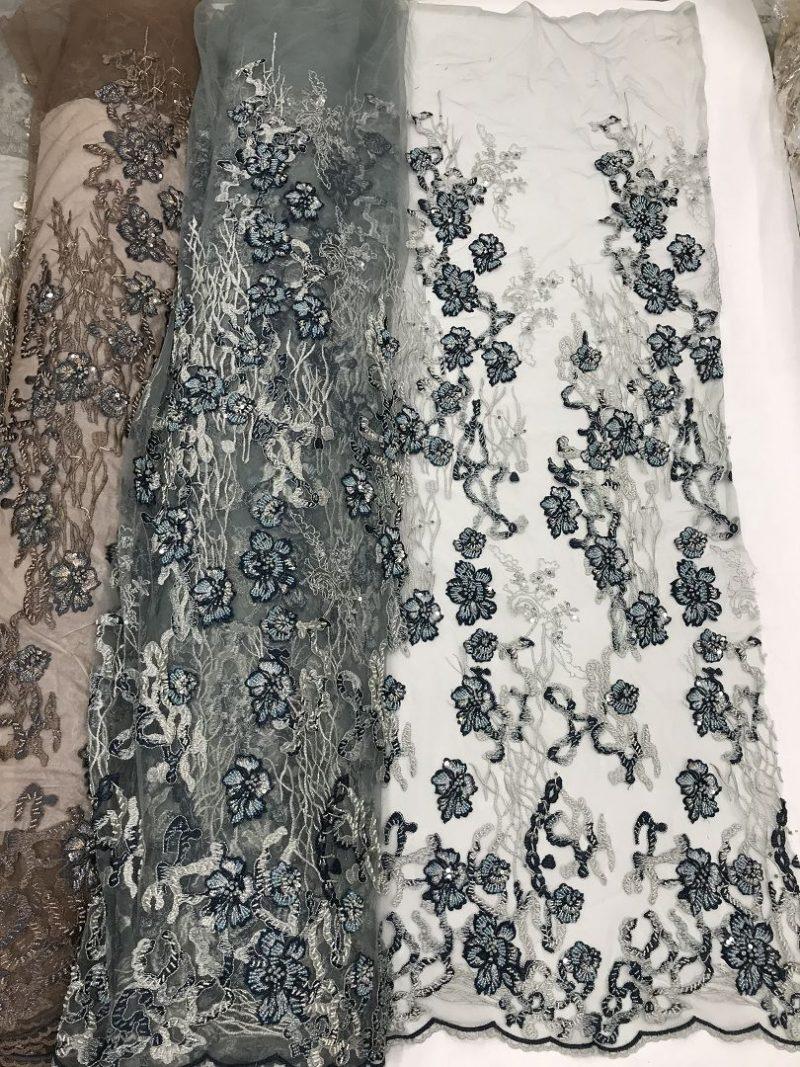 3d цветок кружево зеленое кружево ручной работы из бисера ткань для платья