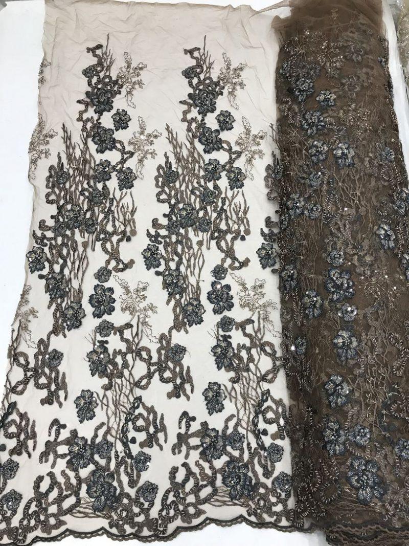 коричневая вышитая бисером кружевная ткань 3d кружево ручной работы