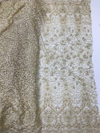 tecido de renda com miçangas de noiva