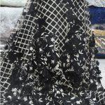 tela de encaje de alta costura negra