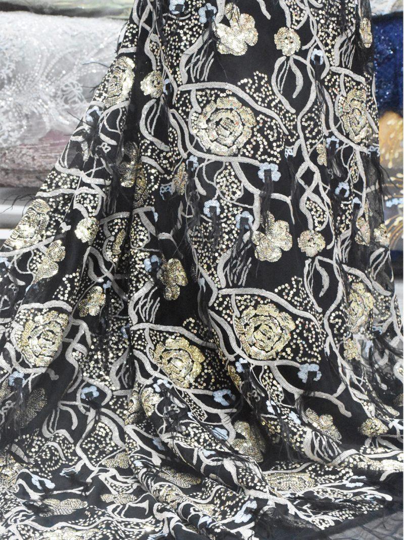gold sequins bridal lace