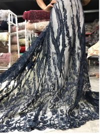 navy blue beaded fabrics