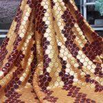 tela de encaje de lentejuelas doradas