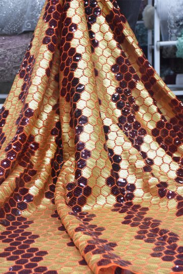 gold sequins lace fabric