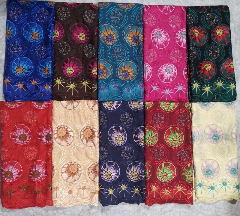 Tecido de renda suíça com design de flores da moda de alta qualidade tecido de renda voile de algodão pesado